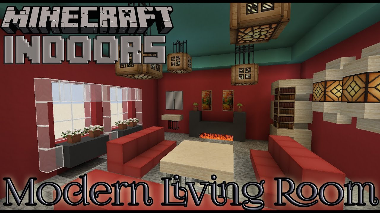 Modern living room in red minecraft indoors interior for 10 living room designs minecraft