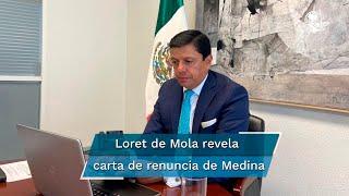 """""""Deseo de corazón que sigas teniendo éxito, y que mires siempre por el bien de nuestro amado México"""", expresó Fabián Medina en una carta dirigida al secretario de Relaciones Exteriores"""