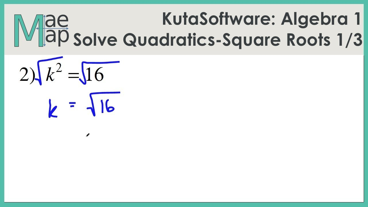 Kutasoftware Algebra 1 Solving Quadratic With Roots Part 1 Youtube