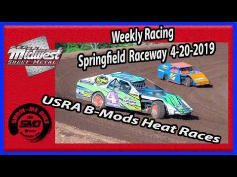 S03 E181 USRA B-Mods Heat Races - Weekly Racing Springfield Raceway - 4-20-2019 #DirtTrackRacing