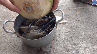 ĂN ĐẶC SẢN MÙA NƯỚC Ở MIỀN TÂY/TÔM CÀNG LUỘC DỪA DỨA/shrimp boiled with coconut