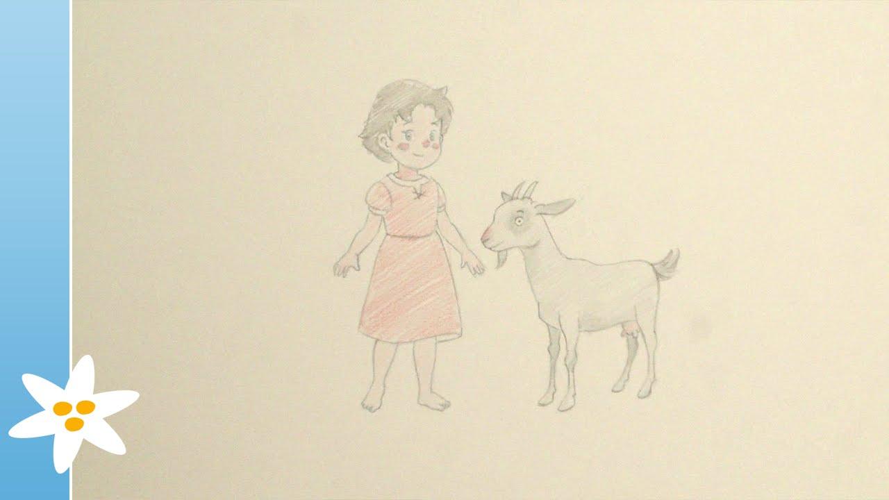 Tekenles: Heidi met een geitje - Tekenen met Heidi