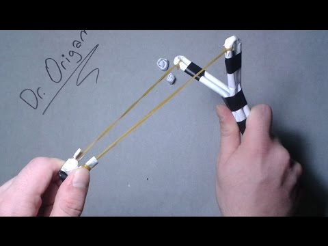  DIY  How to make a Paper Slingshot   VERY SİMPLE and POWERFULL  