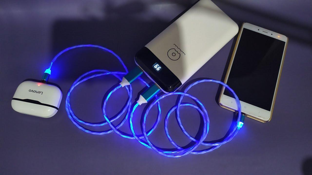 كيبل لشحن الهاتف مغناطيسي مضيئ Magnetic Cable USB To Type C & Micro USB Illuminated