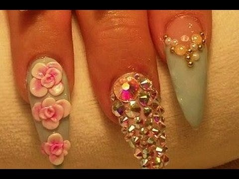Diy Acrylic Nails Tutorial 3d Flowers Nail Art Step By Step 2016
