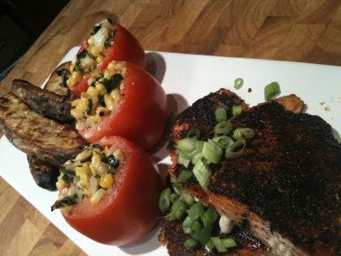 Blackened Salmon with Garlic Roasted Potato Wedges and Creamed Corn Stuffed Tomatoes
