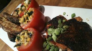 Blackened Salmon With Garlic Roasted Potato Wedges And Creamed Corn Stuffed Tomatoes