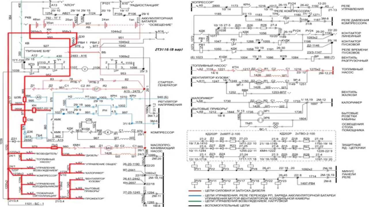 Электрическая схема тепловоза 2тэ116.