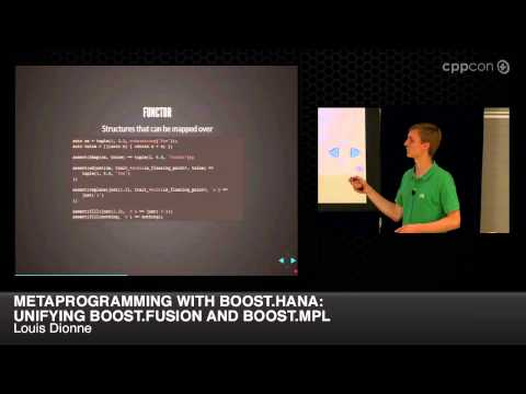 "CppCon 2014: Louis Dionne ""Metaprogramming with Boost.Hana: Unifying Boost.Fusion and Boost.MPL"""