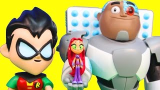 Imaginext Joker Tries to Take Teen Titans Go T Tower From Robin Cyborg Starfire Raven Beast Boy
