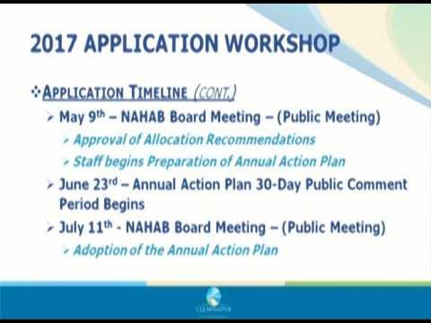 2017 Community Development Block Grant (CDBG) Application Workshop Video