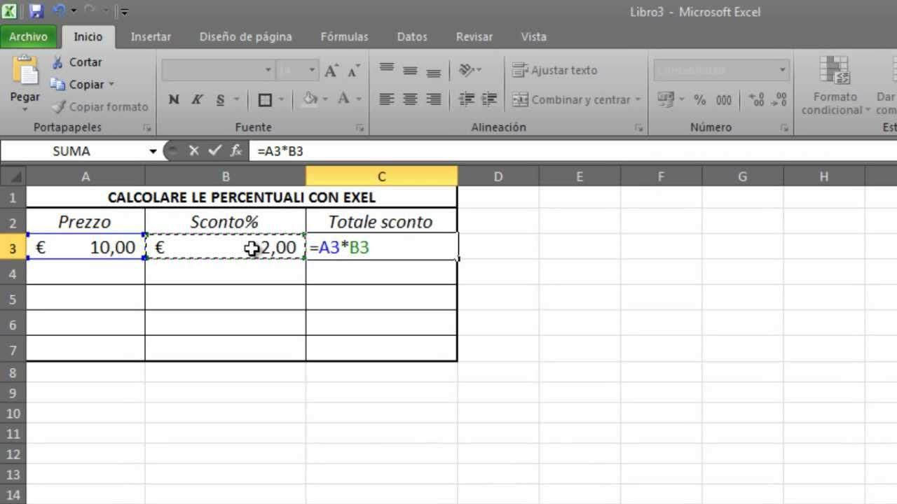 Come Calcolare Le Percentuale Con Excel Calcolare Percentuale