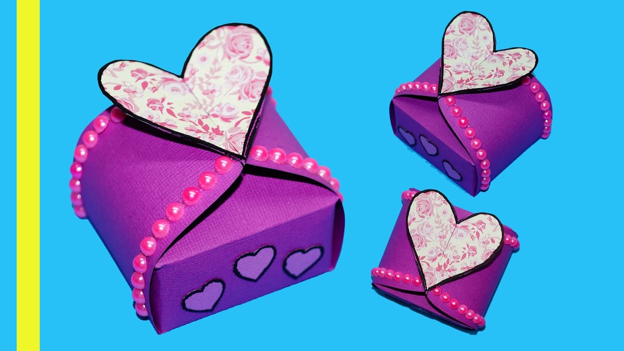 DIY paper crafts idea - Gift box sealed with hearts - gift heart box ...