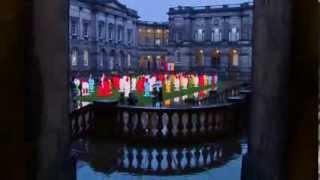 Chinese warrior lanterns light up quad