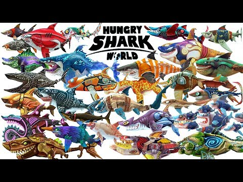 Hungry Shark World - New Update - All 29 SKINS & SHARKS Unlocked   Android Gameplay [FHD]