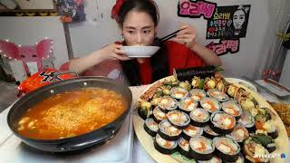 생비오는날엔이거지 집김밥 신틈새라면 집밥야식먹방쿡방 m…