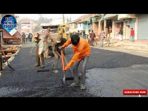 काठमाडौंको सडक कालाेपत्रे गर्ने काम धमाधम शुरू   Road construction in Kathmandu Nepal