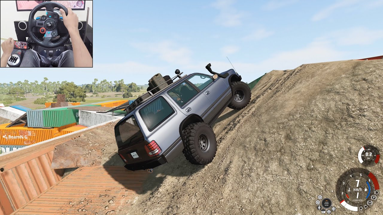 Offroading in the updated industrial map  - BeamNG.drive | Logitech g29 gameplay
