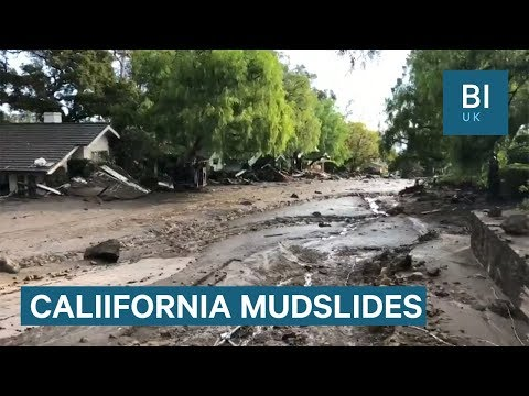 Footage shows the devastation caused by California mudslides