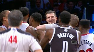 Repeat youtube video LeBron James Fouled Hard & Laughed At by Mirza Teletovic