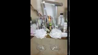 Декор бокалов жениха и невесты. Decor glasses bride and groom