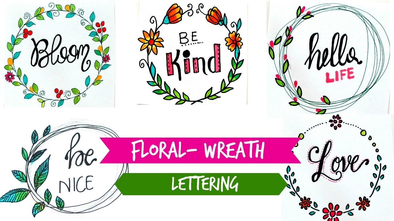 draw floral wreath lettering youtube wreath clip art lights wreath clip art free black and white