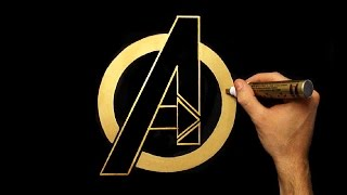 How To Draw Gold Avengers Logo | Drawing | Draw With Denis | Hand Drawn
