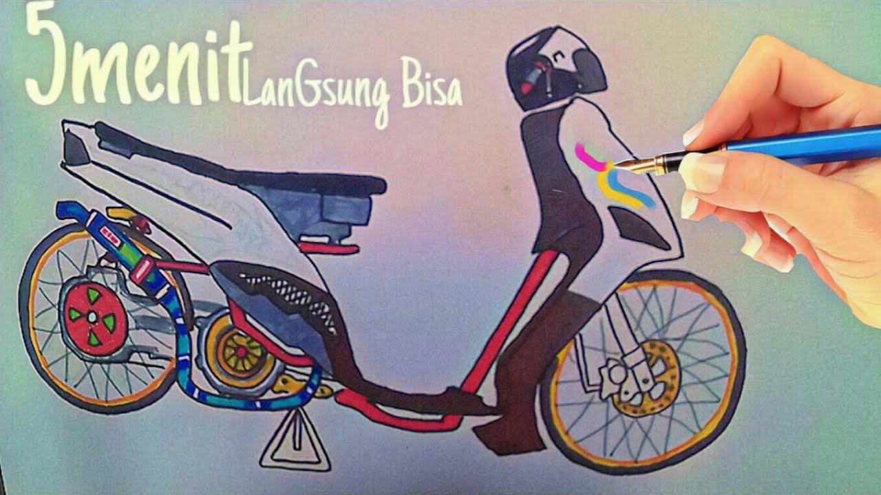 Cara Menggambar Motor Drag Mio Thailand