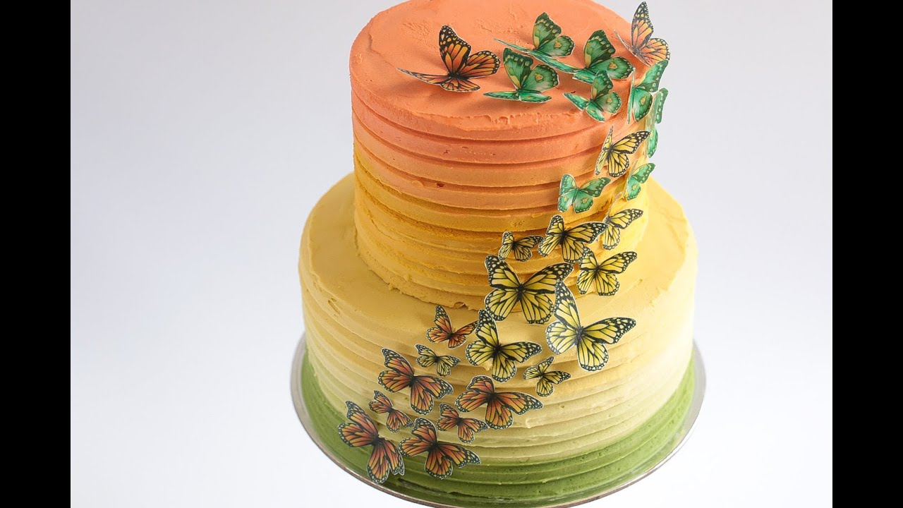 Caramel Ombre Cake with Edible Wafer Paper Butterflies Tutorial ...