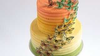 Caramel Ombre Cake With Edible Wafer Paper Butterflies Tutorial