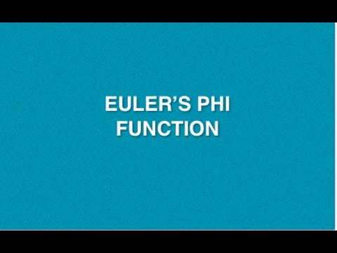 Euler's  Phi  Function   Lecture - 5   Cryptography And Network Security   Tutorials   Cryptography