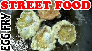 Indian Street Food - Vendors are Making and Selling Egg Fry with Paratha on the Street of India