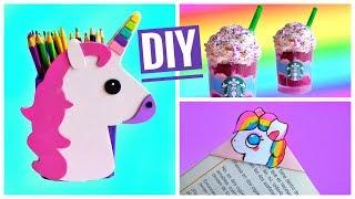 3 DIY UNICORN SCHOOL SUPPLIES | Back to school | Unicorn frappuccino