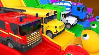 Learn Colors PACMAN VS Street Vehicle and Magic Water Slide Farm Pretend Play for Kids