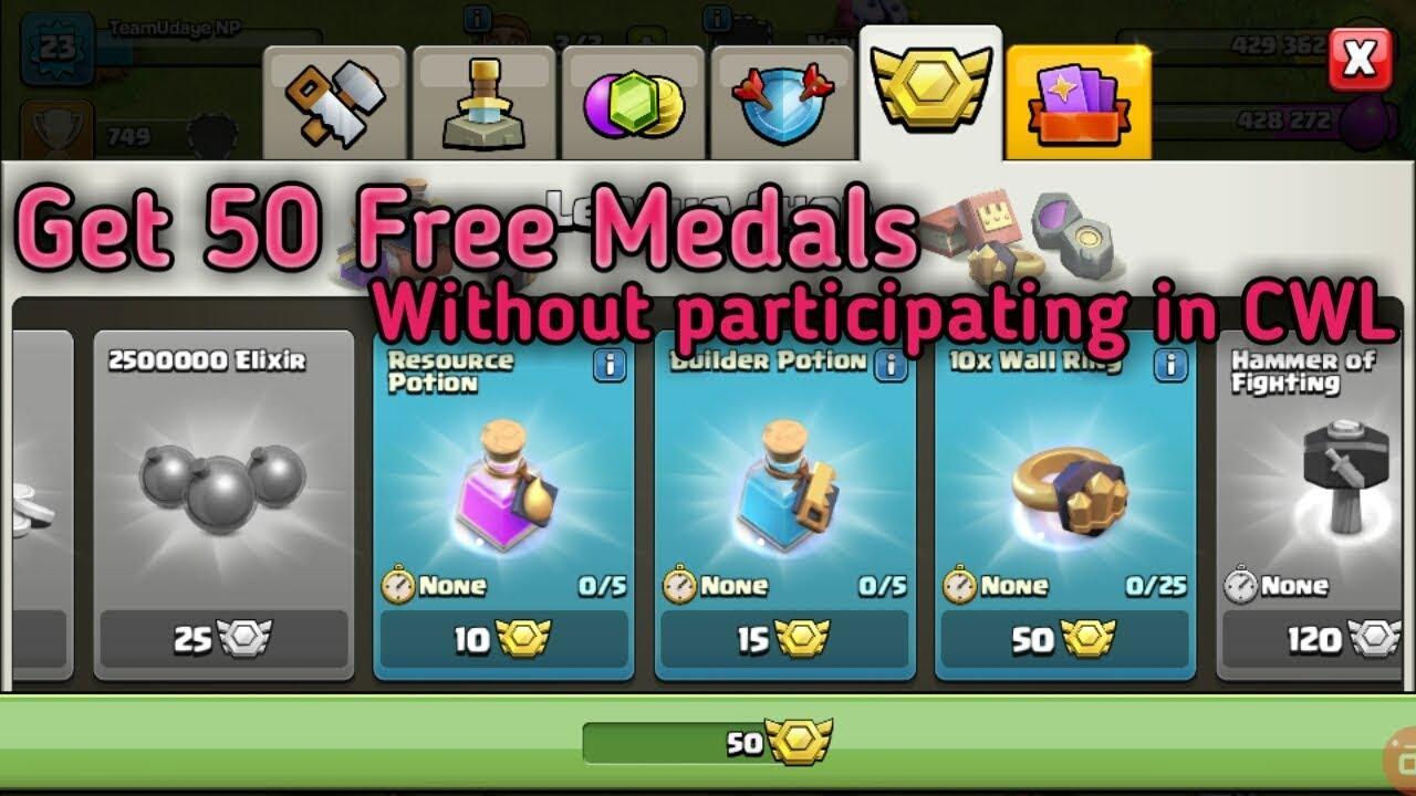 How to Get Free Medals Without participating in Clan war League for any  Townhall - Clash Of Clans