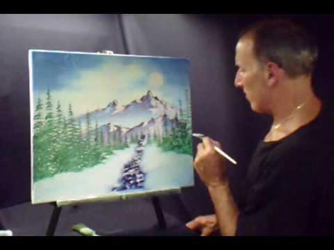 Oil Paint Snow Covered Moon Light Landscape Scene Volume 2 Lesson # 46