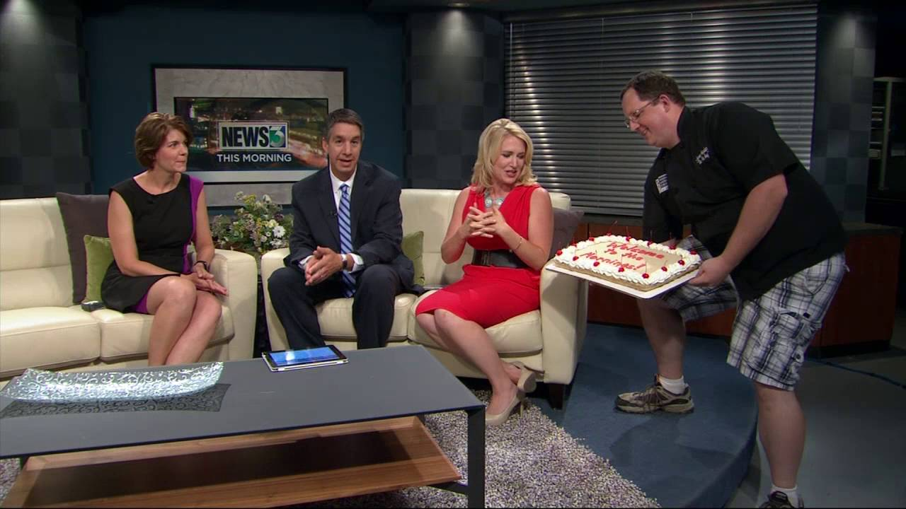Morning crew welcomes Dannika with hot fudge malt pie