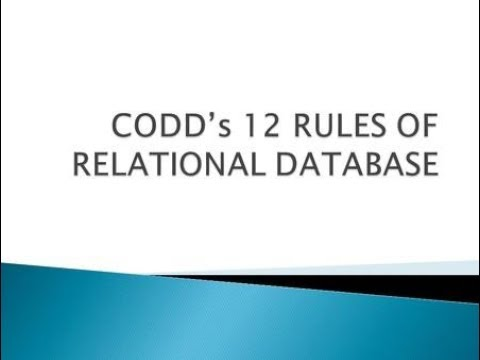 Dbms Codd Rule (13 Rule) Tamil class 2