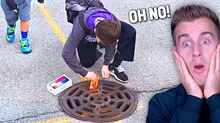 I DROPPED His iPhone In The SEWER...