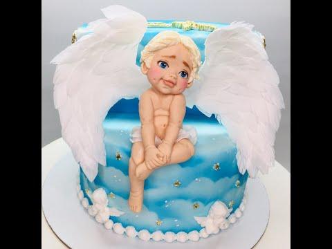 Оформление торта на крестины с фигуркой ангела/ How To Make A Cake With An Angel