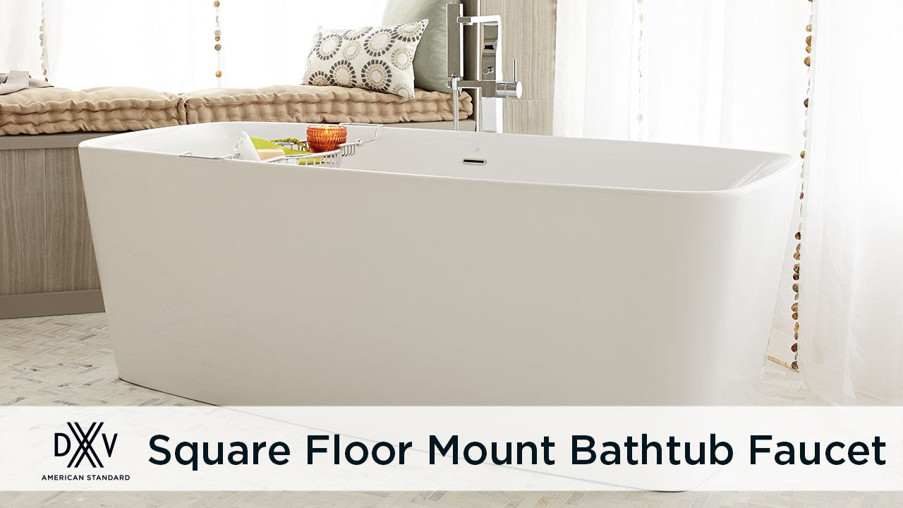 Square Floor Mount Bathtub Filler Faucet by DXV - YouTube