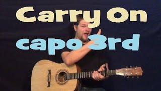 Carry On (fun)  Easy Strum Guitar Lesson Chord How to Play - D G A