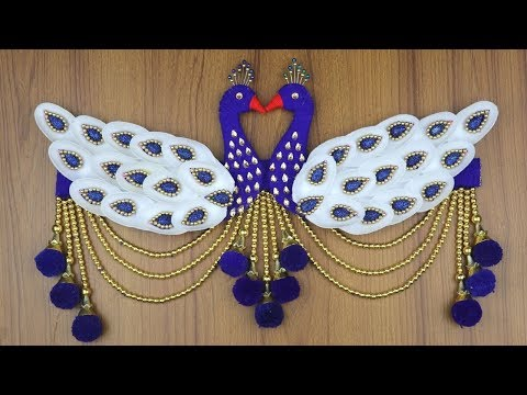 amazing-peacock-design-door-hanging-for-home-decor---waste-material-craft-idea---diy-arts-and-crafts