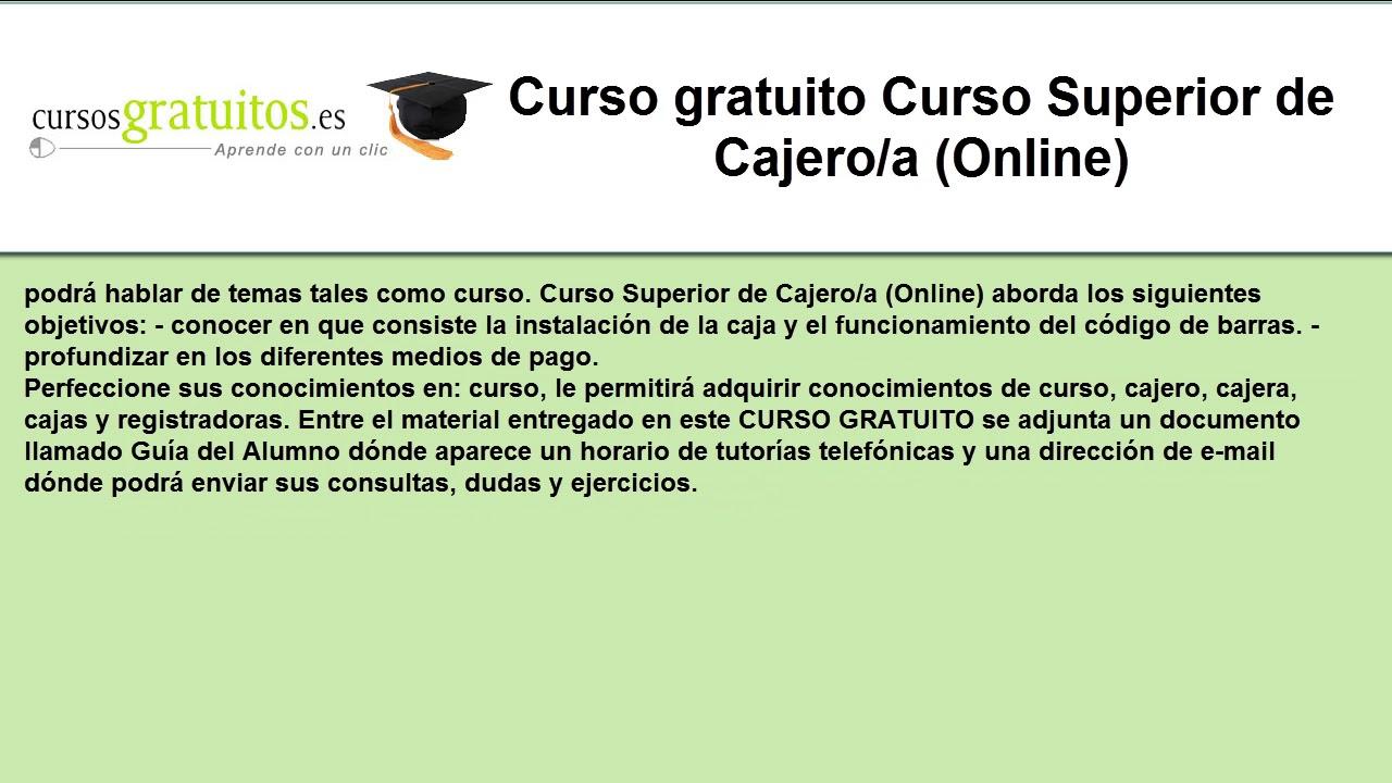 Curso Gratuito Curso Superior De Cajero A Online