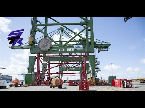 ALE Jack up of four container cranes, Port of Antwerp Belgium