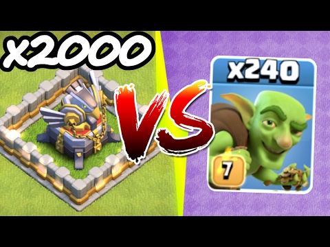 2000TH EAGLE ARTILLERY vs 240 GOBLINS!! 💥 Clash Of Clans 💥 NEW ACHIEVEMENT UNLOCKED!