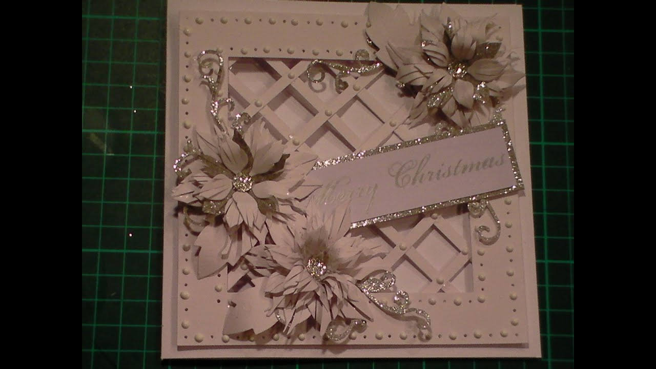 75 cardmaking tutorial sparkly poinsettia christmas lattice card