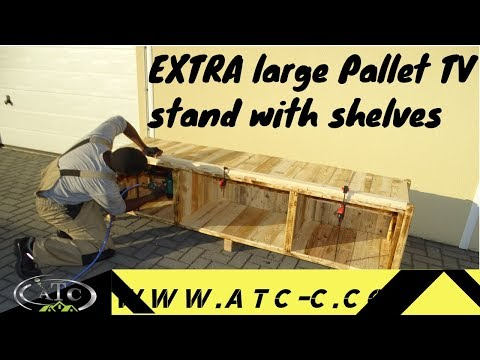 How To Build an EXTRA large TV stand with shelves using reclaimed pallet wood