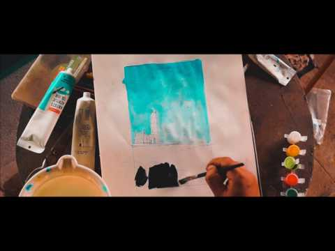 ACRYLIC PAINTING LESSON FOR BEGINNERS || HOW TO PAINT A SIMPLE LANDSCAPE WITH ACRYLICS