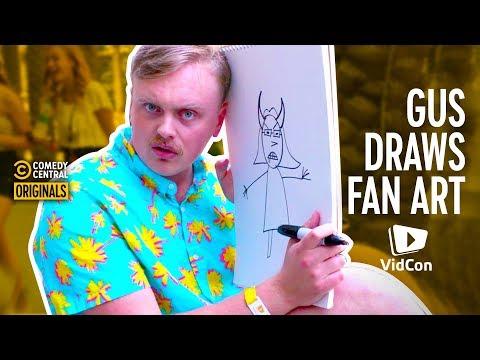 @Gus Johnson Sketches Fans At VidCon